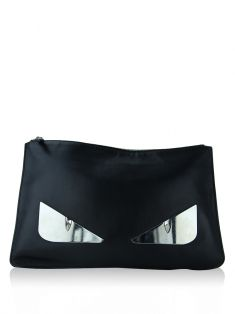 Clutch Fendi Monster Eyes Couro Preto