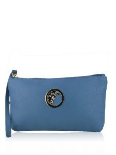 Clutch Versace Collection Wristlet Medusa Azul