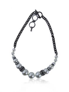 Colar Givenchy Pearl and Chain Chumbo