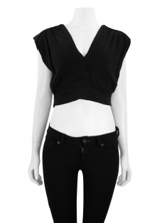 Blusa Mixed Cropped Preto