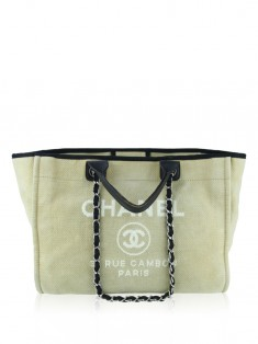 Bolsa Chanel Large Deauville Shopping Tote Bege