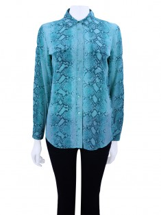 Camisa Equipment Seda Animal Print Verde