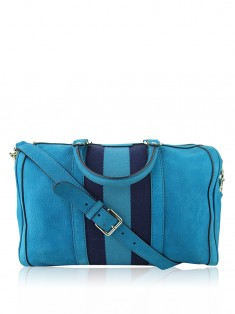 Bolsa Gucci Vintage Web Medium Boston Azul