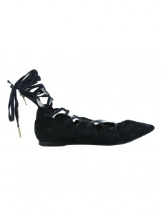 Rasteira Burberry Scalloped Suede Lace Up Pointed Toe
