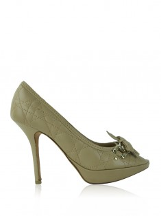 Sapato Christian Dior Cannage Bow Bege
