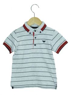 Polo Armani Junior Listrada Cinza Toddler