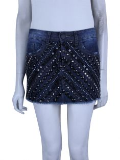 Saia Bobstore Strass Jeans Azul