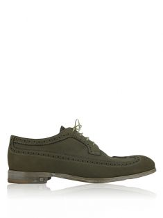Sapato Louis Vuitton Brogue Oxford Camurça Verde Masculino