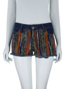 Shorts Mixed Denim Estampado