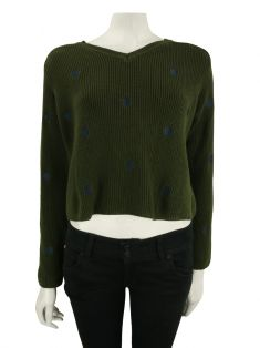 Suéter Animale Knit Cropped Verde Militar