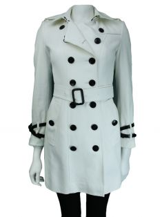 Trench Coat Burberry Acinturado Branco